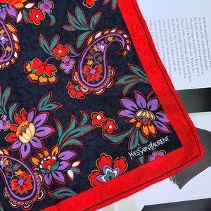 YSL Black Red Vintage Handpocket Scarf